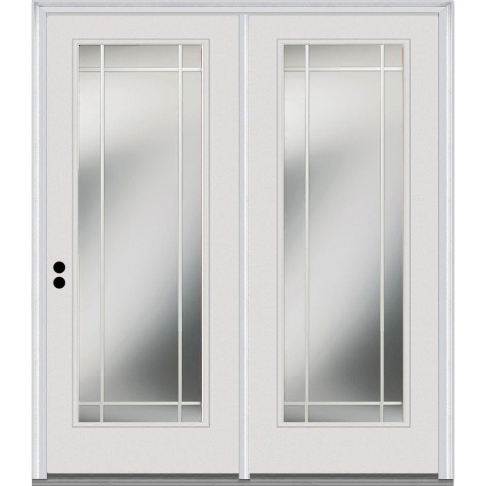 MMI Door 68 in. x 80 in. Grills Between Glass Primed Fiberglass Smooth Prehung Right-Hand Inswing Full Lite Stationary Patio Door