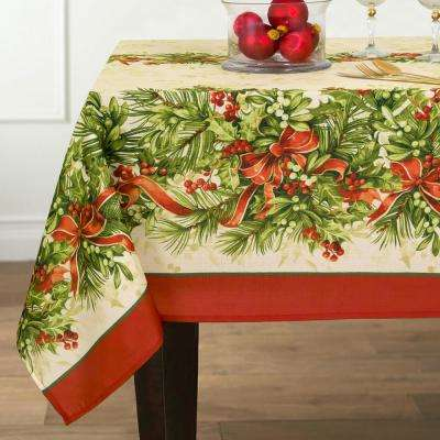 60 in. W x 84 in. L Multi Elrene Holly Traditions Double Border Polyester Fabric Tablecloth