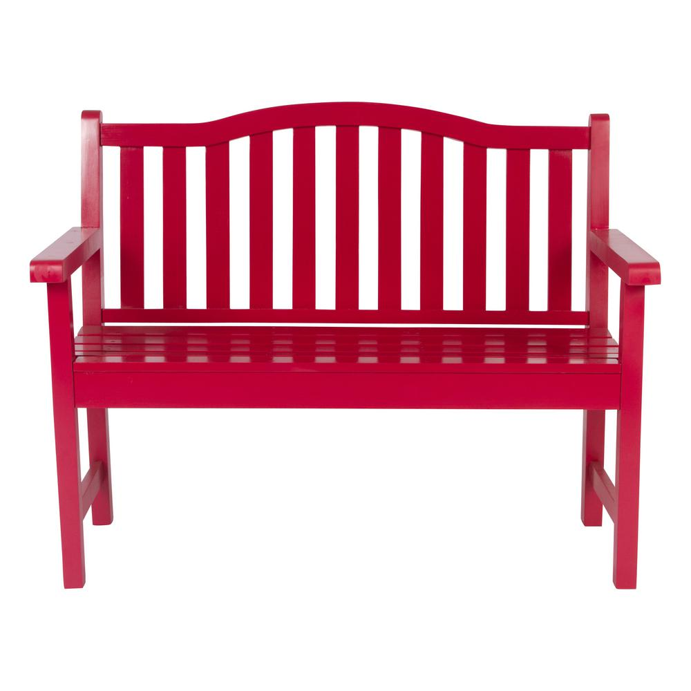 Shine Company Belfort Cedar Wood Outdoor Garden Bench 43.25 in. - Chili Pepper