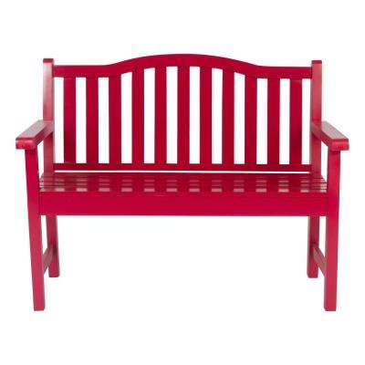 Belfort Cedar Wood Outdoor Garden Bench 43.25 in. - Chili Pepper