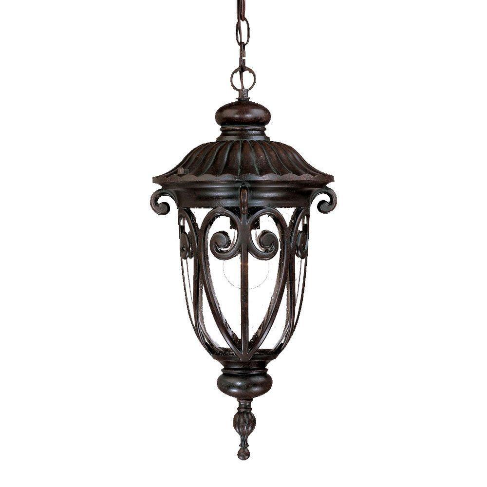Naples Collection 1-Light Marbleized Mahogany Outdoor Hanging Lantern Light Fixture