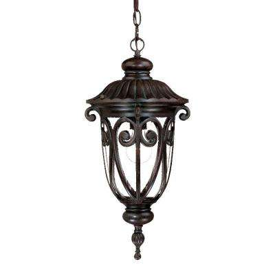 Naples Collection 1-Light Marbleized Mahogany Outdoor Hanging Lantern Light Fixture