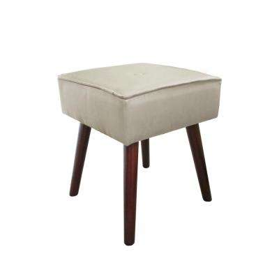 Robin Light Gray Foot Stool with Wooden Legs