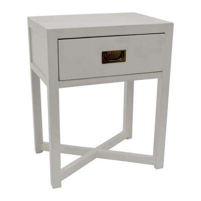 24 in. Gray Side Table with 1-Drawer