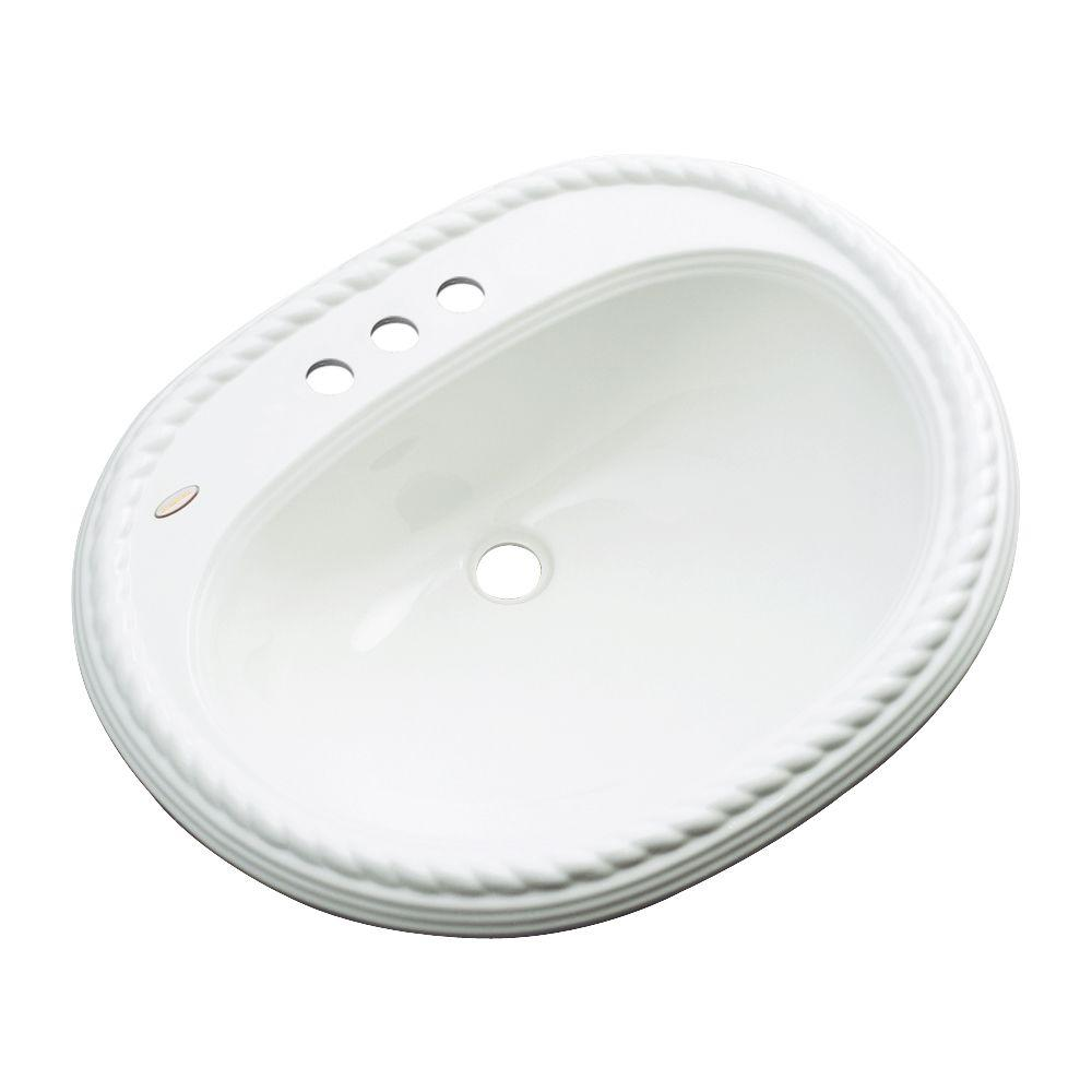 null Malibu Drop-In Bathroom Sink with Faucet Hole in White
