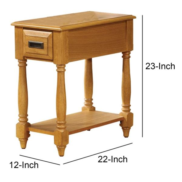 Benjara 22 In W Light Oak Brown Small Rectangle Wooden Side Table Bm157267 The Home Depot - Antique Small Oak Side Table With Drawer