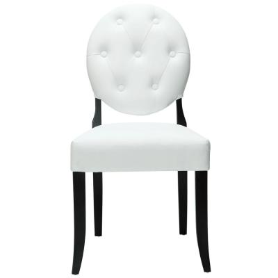 White Button Dining Vinyl Side Chair