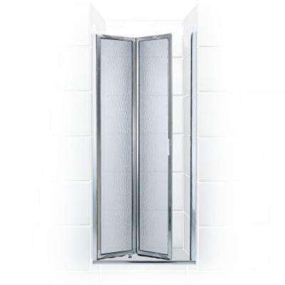 Paragon Series 24 in. x 66 in. Framed Bi-Fold Double Hinged Shower Door in Chrome and Obscure Glass