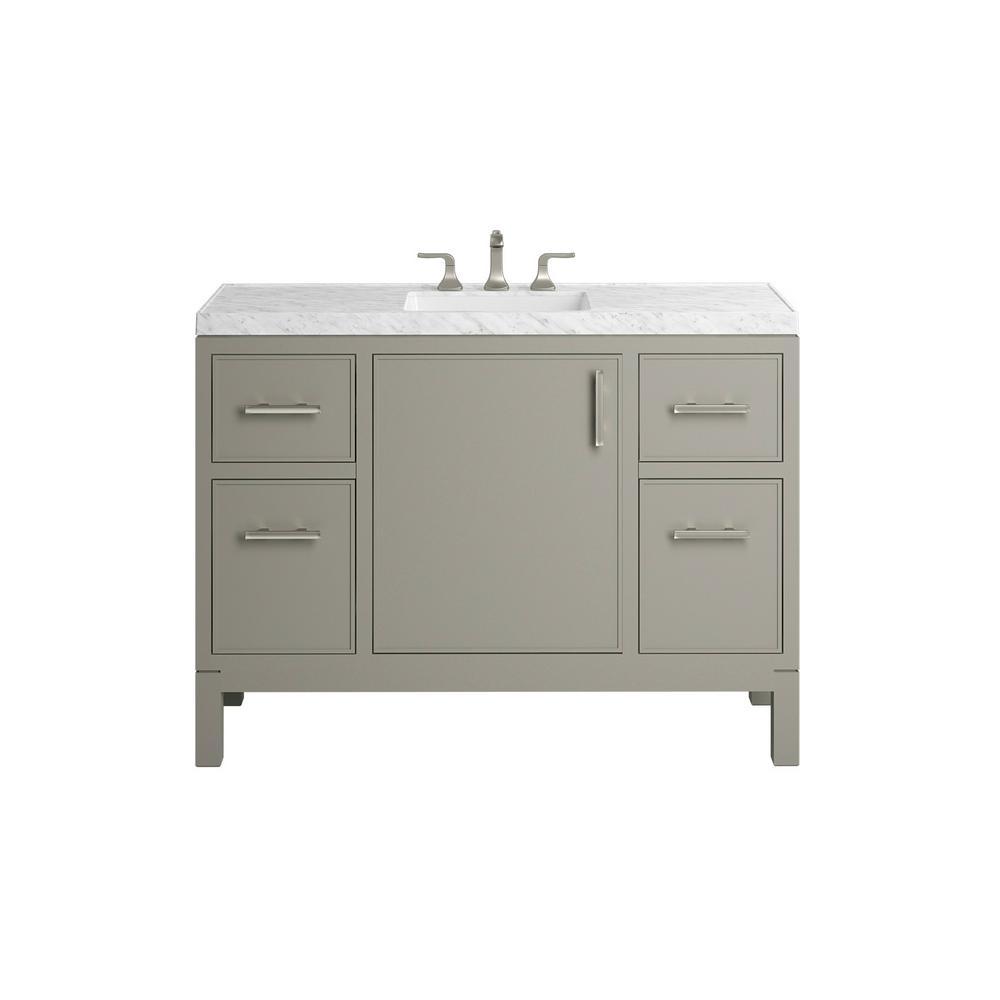 . KOHLER Rubicon 48 in  Bath Vanity Single Basin Vanity Top in Mohair Grey  with White Basin