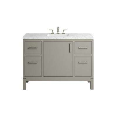 Rubicon 48 in. Bath Vanity Single Basin Vanity Top in Mohair Grey with White Basin