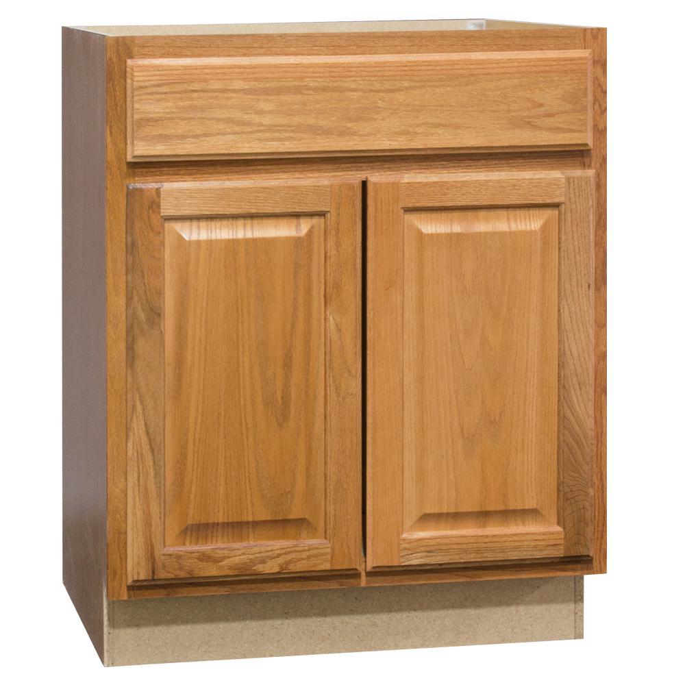 Hampton Assembled 30 x 34.5 x 21 in. Bathroom Vanity Base Cabinet in Medium Oak