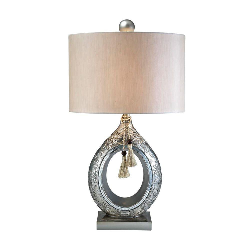 31 in. Antique Brass Chrysanthemum Table Lamp