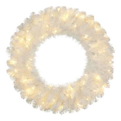 30 in. Uptown Pre-Lit LED Artificial Christmas Wreath with 136 Tips and 50 Warm White Micro Dot Lights