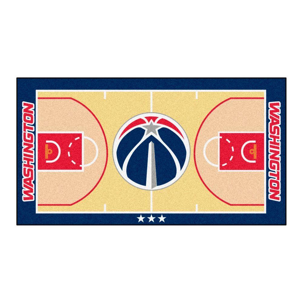 NBA Washington Wizards Tan 3 ft. x 5 ft. Indoor Basketball Court Runner Rug