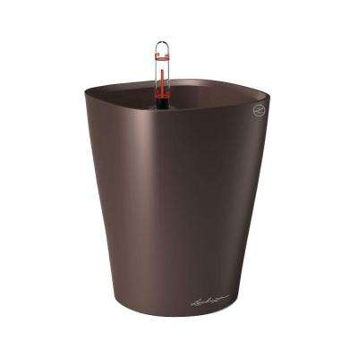 Deltini Premium 6 in. Square Espresso Metallic Table Top Self Watering Plastic Planter
