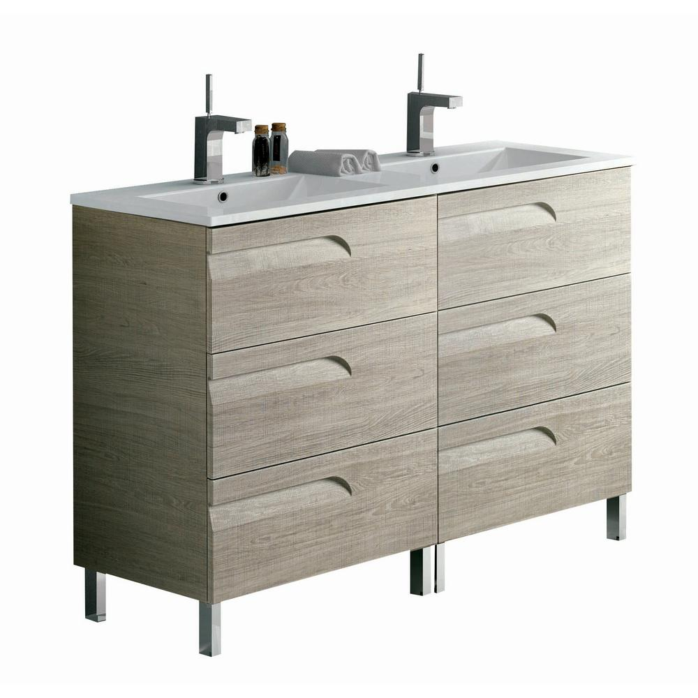 Eviva Vitta 48 in. W x 18 in. D x 34 in. H Vanity in Maple with Porcelain Top in White with White Basin