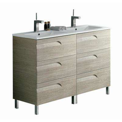 Vitta 48 in. W x 18 in. D x 34 in. H Vanity in Maple with Porcelain Top in White with White Basin