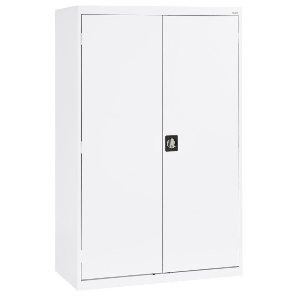 Sandusky Elite Series 78 in. H x 46 in. W x 24 in. D 5-Shelf Steel Recessed Handle Storage Cabinet in White