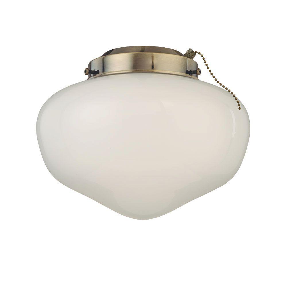 Westinghouse 1-Light Antique Brass Schoolhouse Glass Ceiling Fan Light Kit