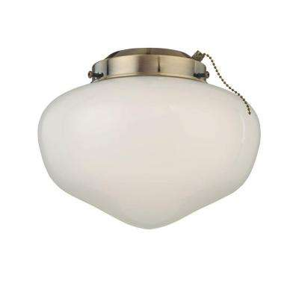 1-Light Antique Brass Schoolhouse Glass Ceiling Fan Light Kit