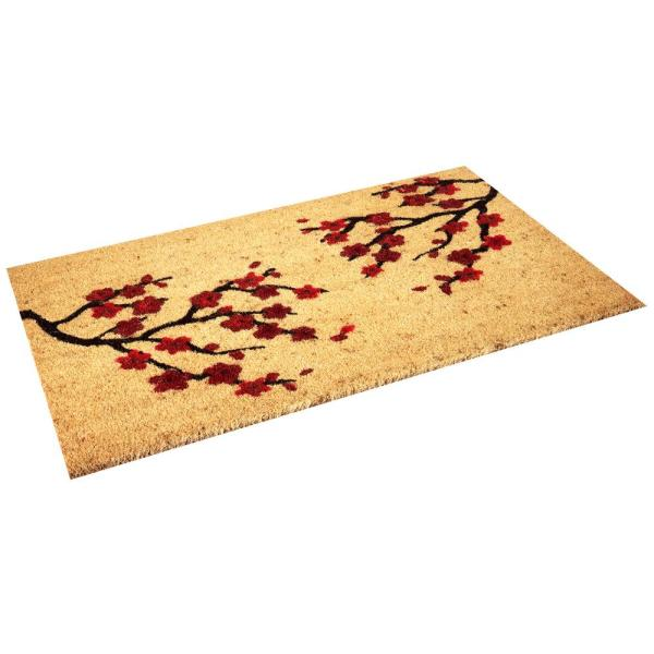 Envelor Seasonal Collection Cherry Blossoms 18 In X 30 In Coir With Non Slip Backing Outdoor Door Mat En Vc 51525 The Home Depot