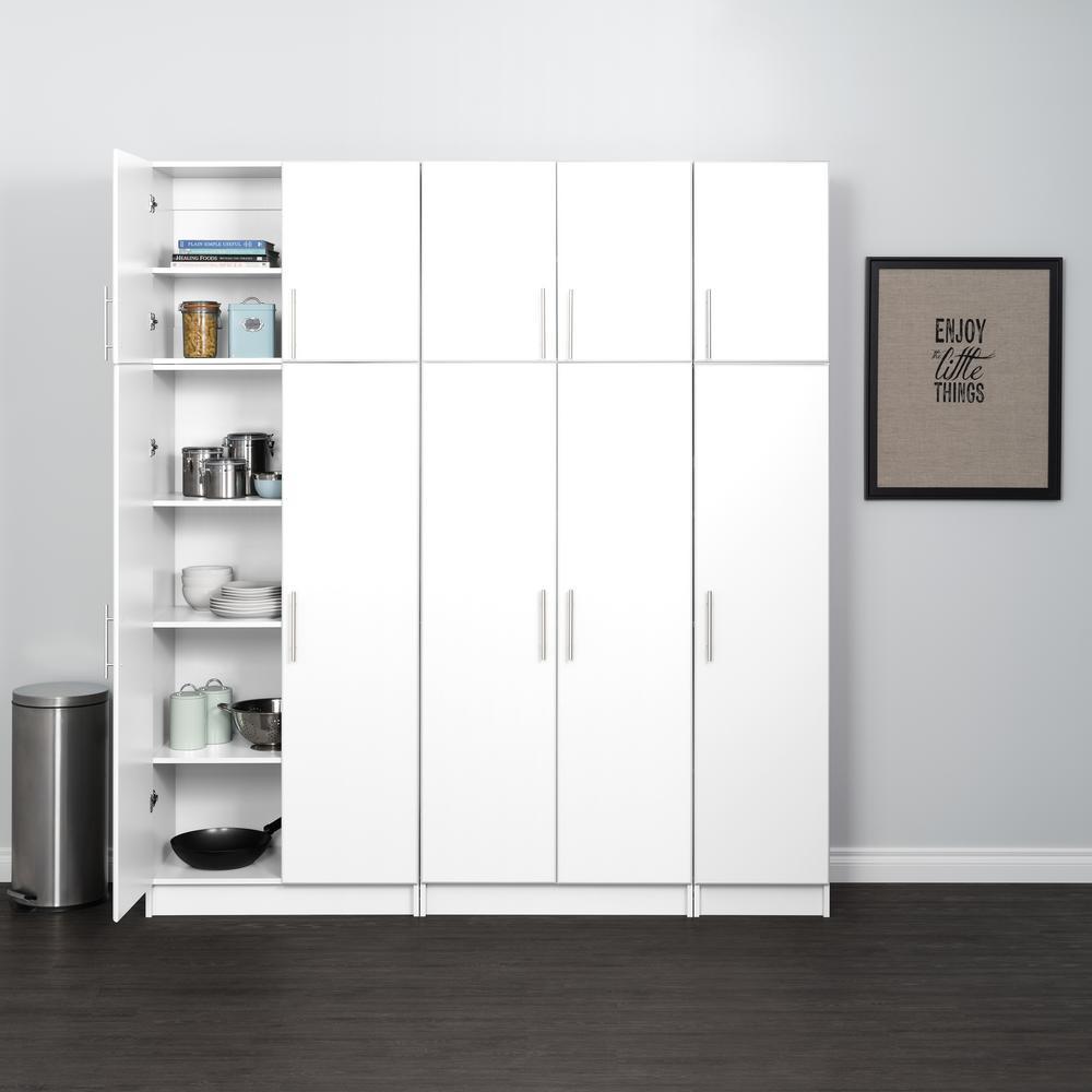 Elite 80 in. W x 89 in. H x 16 in. D Storage Cabinet Set C White 6-Piece