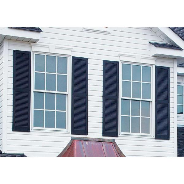 Builders Edge 12 In X 75 In Louvered Vinyl Exterior Shutters Pair In 002 Black 010120075002 The Home Depot
