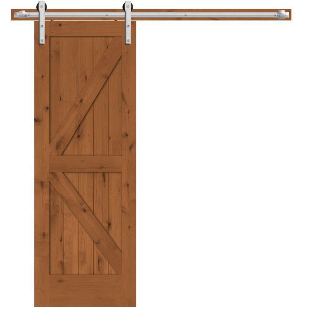 Steves Sons 30 In X 84 In Rustic 2 Panel Stained Knotty Alder Interior Barn Door Slab With