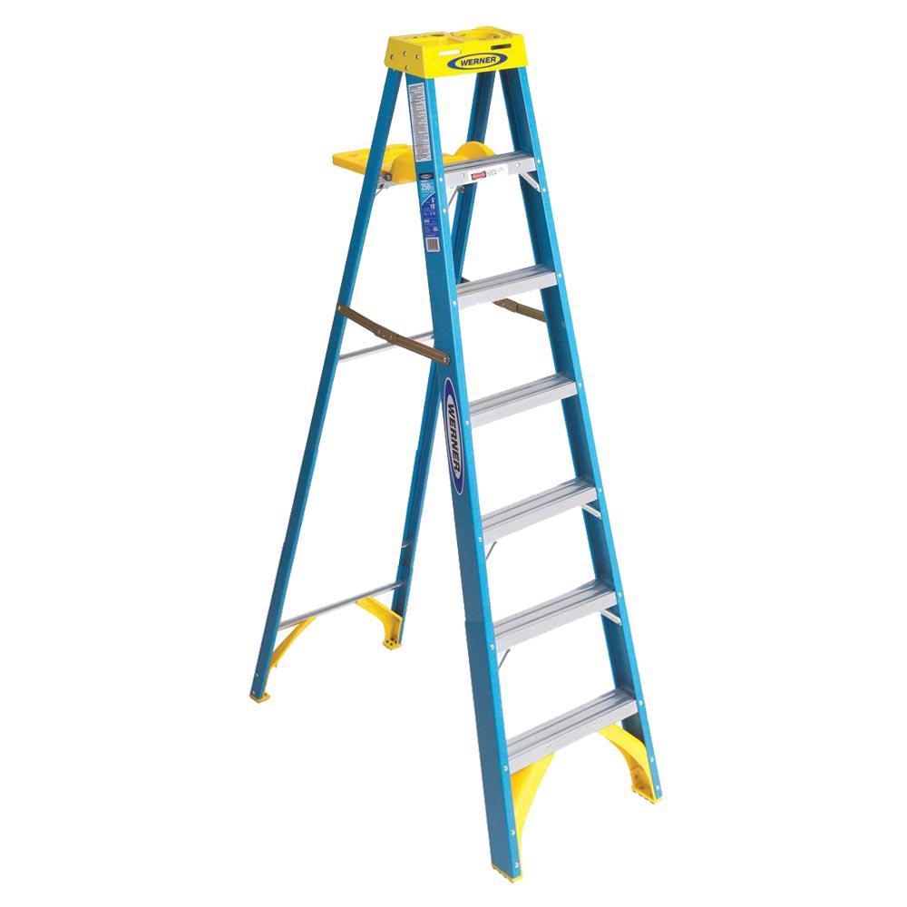 WERNER 7 ft. Fiberglass Step Ladder Painter's Type I 250 lbs. Duty Rating