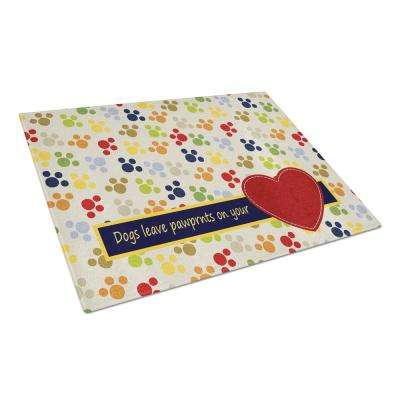 Dogs Leave Pawprints On Your Heart Tempered Glass Large Cutting Board