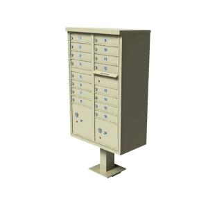 Florence Vital 1570 Series 16 Mailboxes, 1 Outgoing Mail Compartment, 2 Parcel Lockers Pedestal Mount Cluster... by Florence