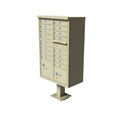 Vital 1570 Series 16 Mailboxes, 1 Outgoing Mail Compartment, 2 Parcel Lockers Pedestal Mount Cluster Box Unit