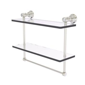 Allied Brass Carolina Crystal 16 In Double Glass Shelf With Towel Bar In Satin Nickel Cc 2 Tb 16 Sn The Home Depot