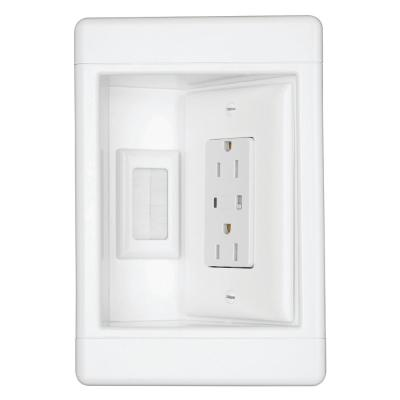 1-Gang Recessed TV Media Box Kit with Surge Suppressing Outlet, Low Voltage Brush Insert and Metal Electrical Box, White