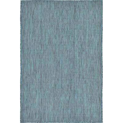 Outdoor Solid Teal 4' 0 x 6' 0 Area Rug