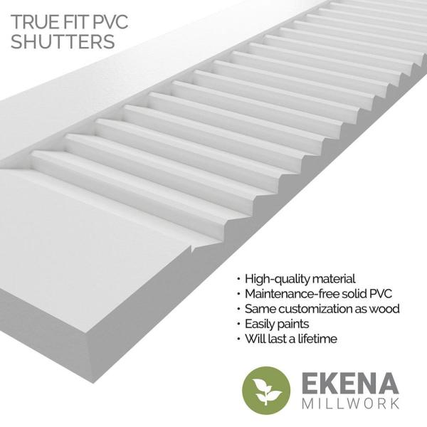 Ekena Millwork 18 X 54 True Fit Pvc Two Equal Louver Shutters Raisin Brown Per Pair 1570244 The Home Depot