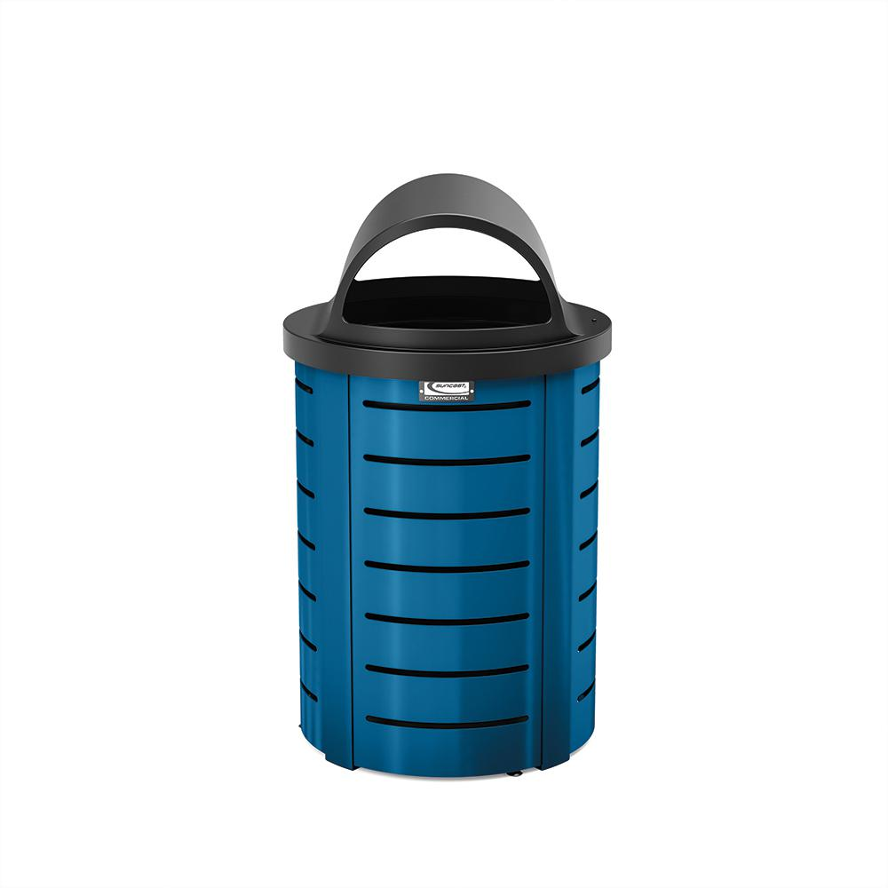 Suncast Commercial 35 Gal. Metal Touchless Outdoor Trash Can ...