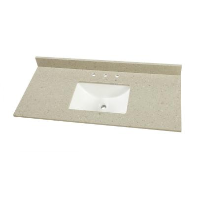49 in. W x 22 in. D Engineered Quartz Single Trough Sink Vanity Top in Stoneybrook with White Sink