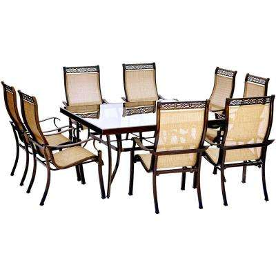 Monaco 9-Piece Aluminum Outdoor Dining Set with Square Glass-Top Table and Contoured Sling Stationary Chairs