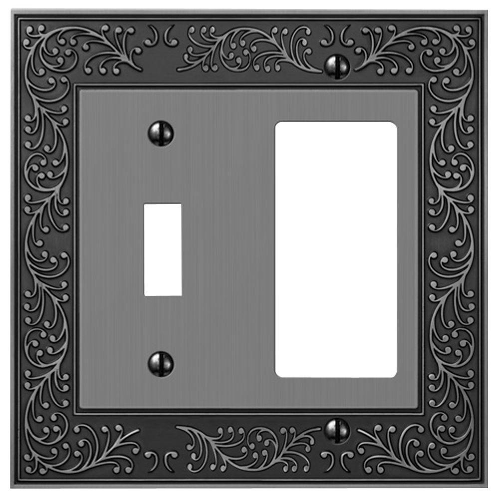 Eng 1 Toggle and 1 Decora Wall Plate - Antique Nickel
