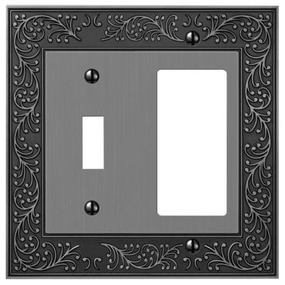 Bleinhem 2 Gang 1-Toggle and 1-Rocker Metal Wall Plate - Antique Nickel
