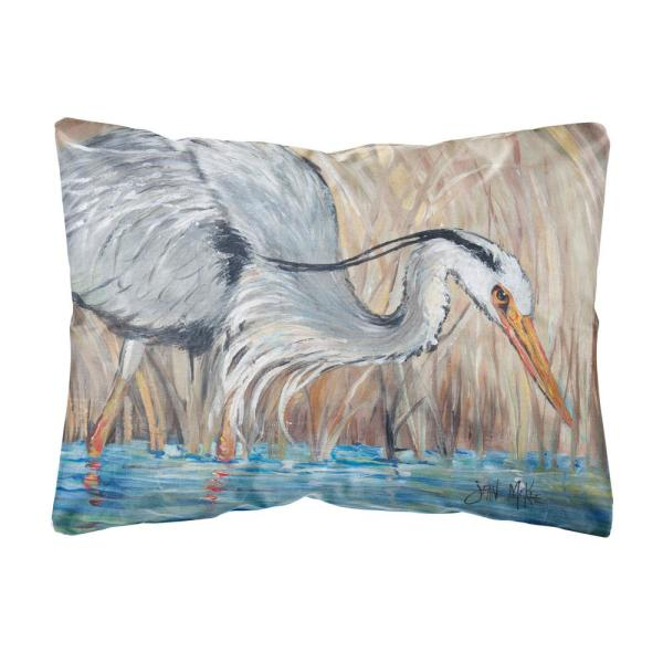12 in. x 16 in. Multi Color Lumbar Outdoor Throw Pillow Blue Heron in the Reeds
