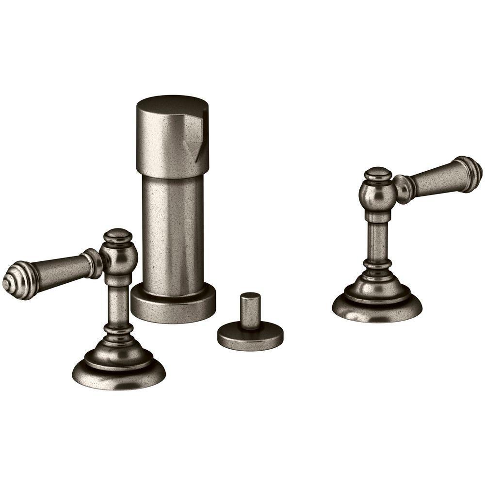 Artifacts Lever 2-Handle Bidet Faucet in Vintage Nickel