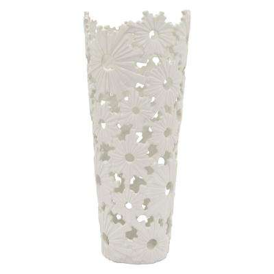 19 in. Porcelain White Ceramic Ceramic Vase