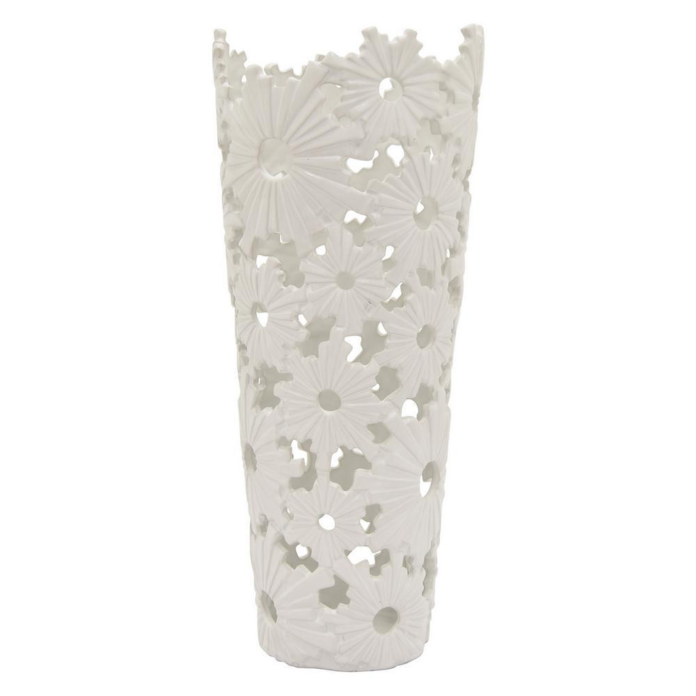 19 in. Porcelain White Ceramic Ceramic Vase