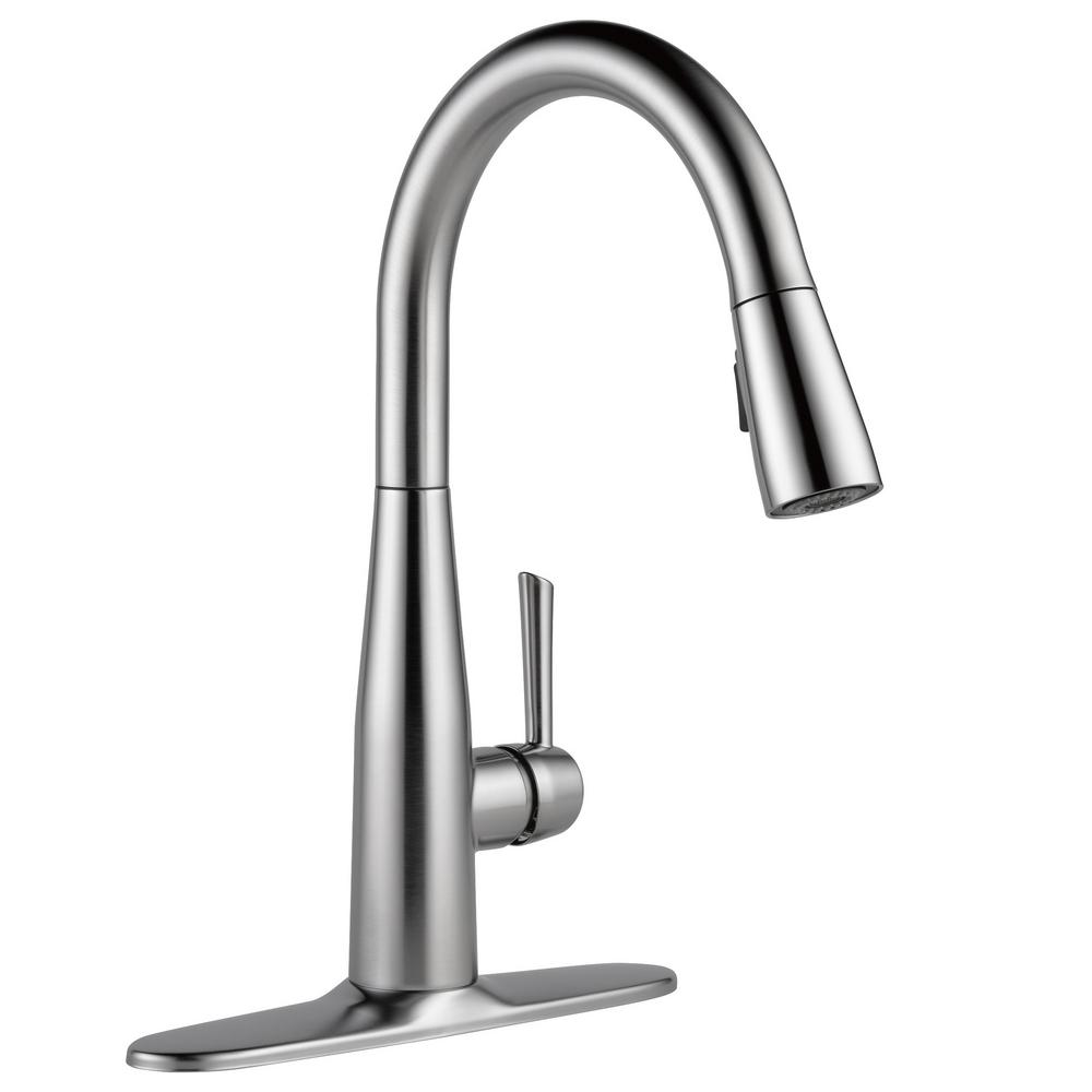 Delta Essa Single Handle Pull Down Sprayer Kitchen Faucet With Magnatite Docking In Arctic Stainless 9113 Ar Dst The Home Depot