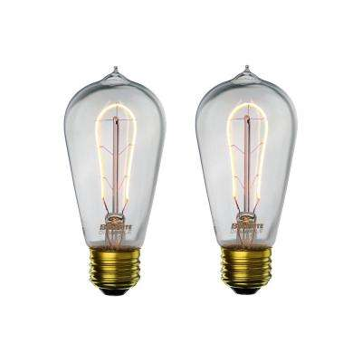 40W Equivalent Amber Light ST18 Dimmable LED Curved Filament Nostalgic Light Bulb (2-Pack)