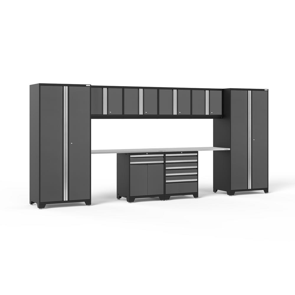 Pro 3.0 85.25 in. H x 184 in. W x 24 in. D 18-Gauge Welded Steel Garage Cabinet Set in Gray (10-Piece)