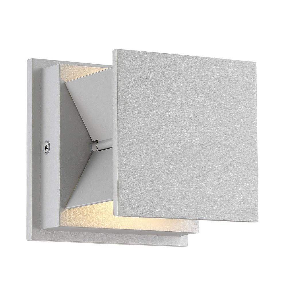 Baffled 2-Light Gray LED Outdoor Light Wall Sconce