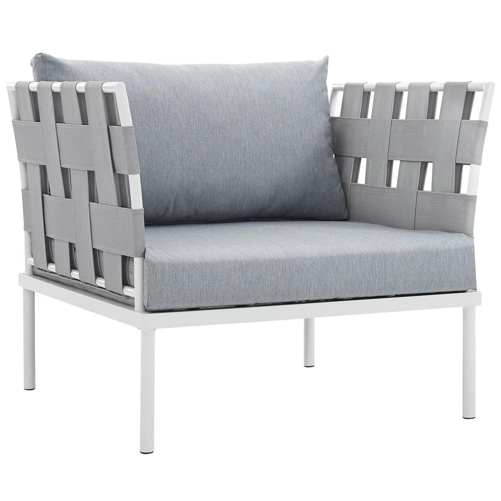 Harmony Aluminum Outdoor Patio Lounge Chair in White with Gray Cushions